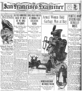 San Francisco Examiner Front Page from April 2 1908, headline: Armed Women Hold Garbage Men at Bay